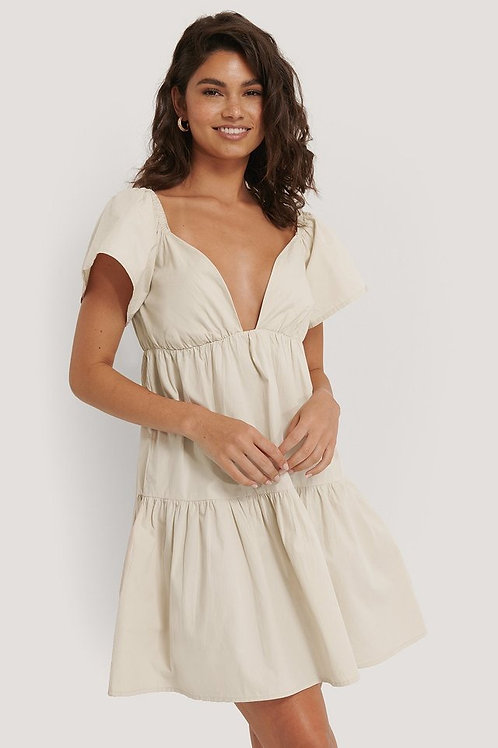 Flounce shoulder mini dress