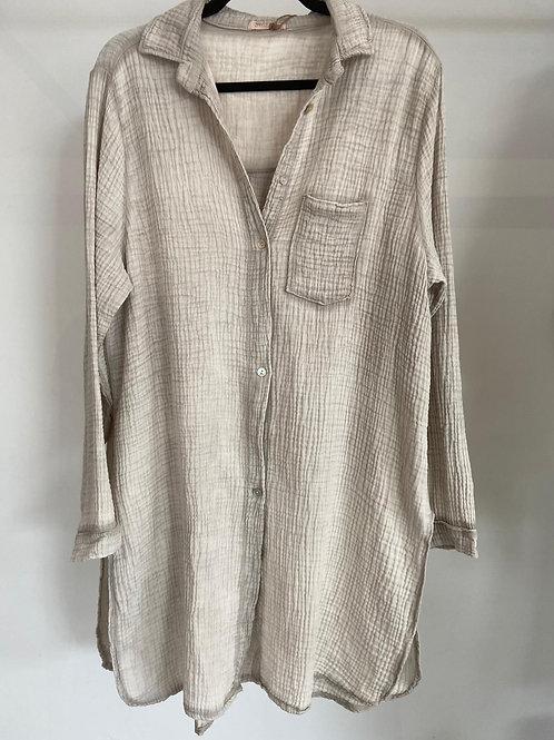 Robe chemise gaze de coton - une poche