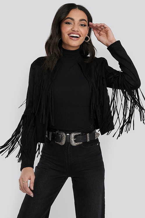 Fake suede fringe jacket - BLACK