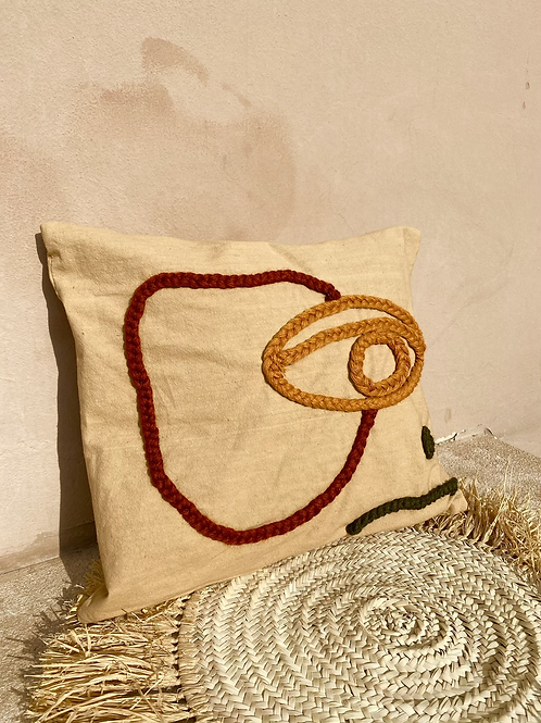 Coussin moutarde - visage