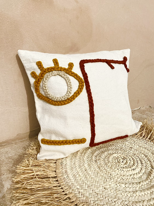 Coussin - œil moutarde