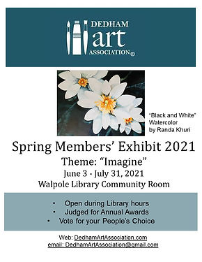 """<p class=""""font_8"""">With the theme """"Imagine"""" for our Spring Members' Exhibit, we continue our 30th anniversary year celebration. Many thanks to the artists, Harley Bartlett – judge, and to the Walpole Library for hosting the exhibit through the end of July! Comments are welcome and at the Library, please vote for your favorite People's Choice Award.</p>"""