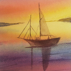 Sunset Sail, watercolor by Nancy Sally