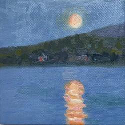 Adirondack Moon, oil by Robin Western
