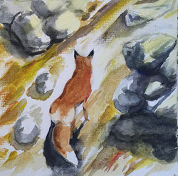 Watching Waiting, watercolor by Peter Shaw