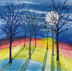 Lunar Luminaria, watercolor by Naomi Wilsey