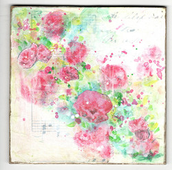 Summertime Roses, paint and collage by Nan Daly