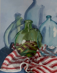 Glass, Shadows on Fabric #9, Red & White Stripes Series