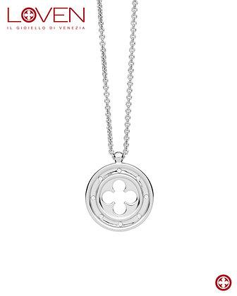 Pendente Rosone Quadrilobato a Croce (long chain)