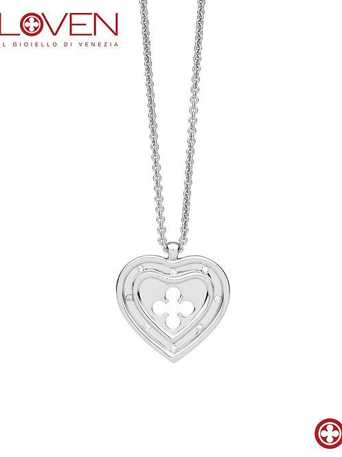 """Cuore Pendente Grande """"silver shine long chain"""""""