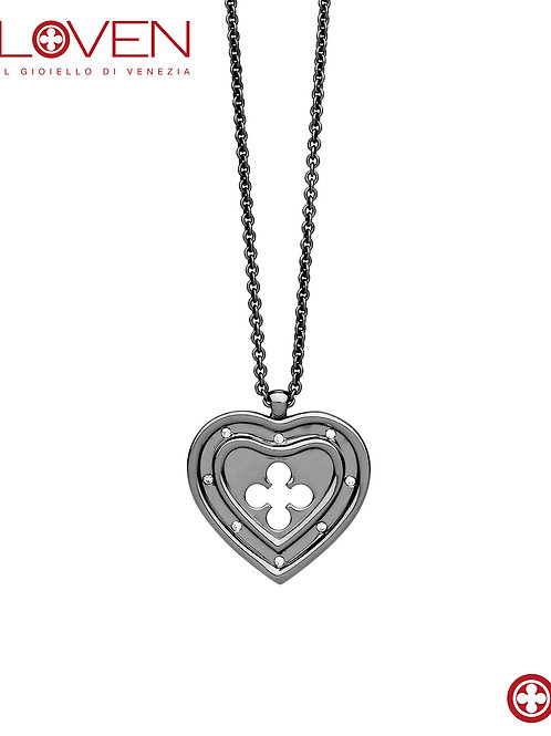"Cuore Pendente Grande ""ruthenium long chain"""