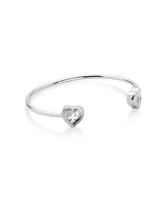 Bracciale schiava a cuore quadrilobato 2 elementi silver shine
