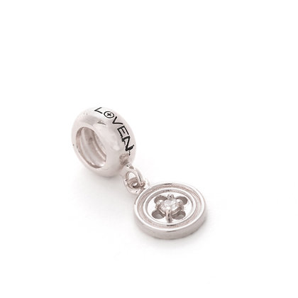 Charm Rosone small con zircone  silver