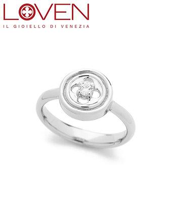 Anello Rosone Quadrilobato con Zircone Silver Shine
