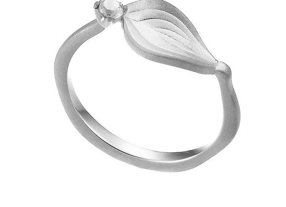 """Anello Foglia Orchidea """"Bellezza"""" Silver Shine"""