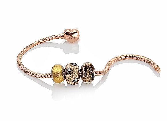 "Bracciale Snake a Cuore rosé gold ""example"""