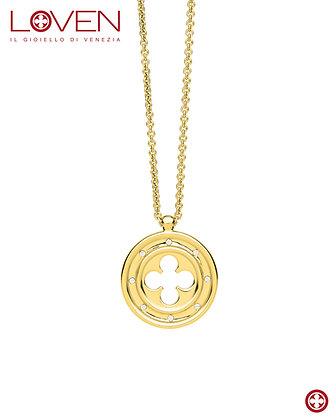 Pendente Rosone Quadrilobato a Croce Gold (long chain)