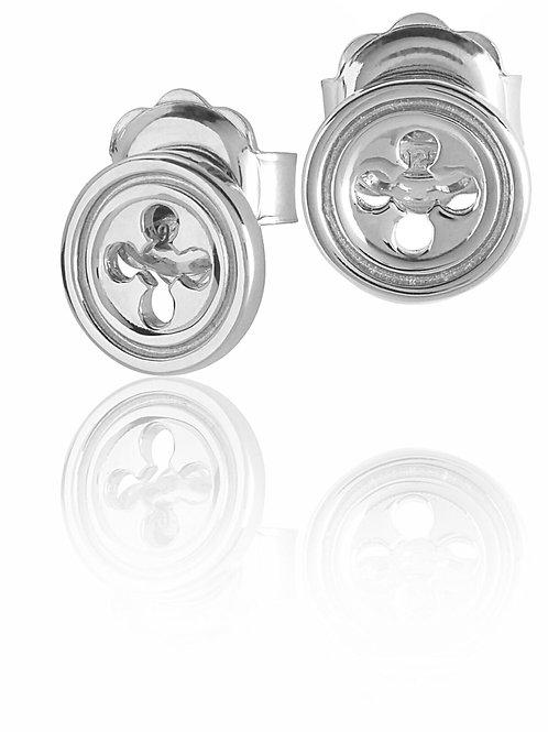 Orecchini Rosone Quadrilobato a Croce silver shine