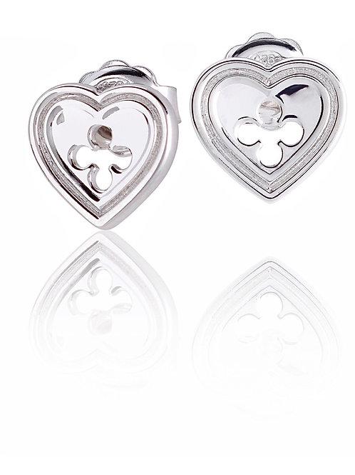 Orecchini Cuore Quadrilobato  Silver shine