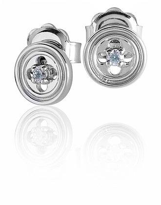 Orecchini Rosone Quadrilobato Con zircone Silver shine