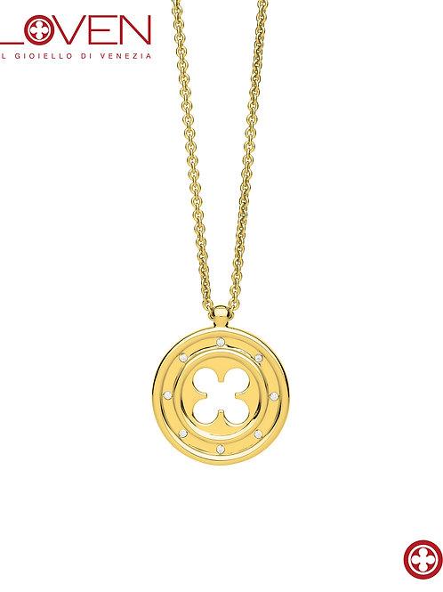 Rosone Quadrilobato a Quadrifoglio Gold (long chain)