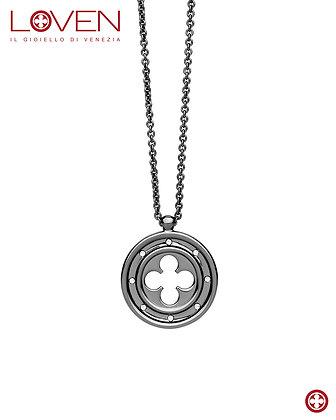 Rosetón cruzado cuadrilobulado negro rutenio (cadena larga)