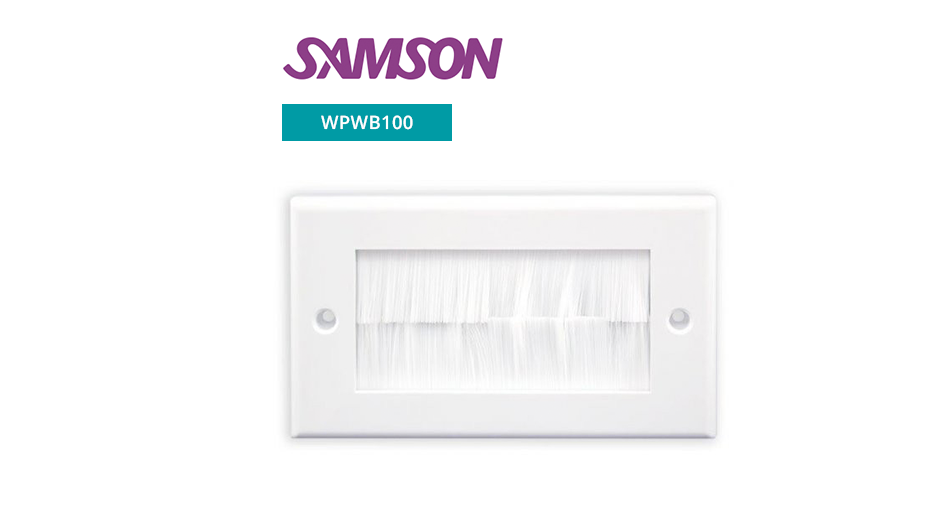 Double Output Brushed Wall Plate -White with White Brushes