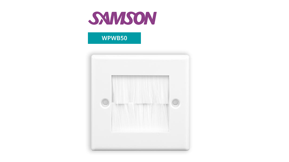 Single Output Brushed Wall Plate - White with White Brushes