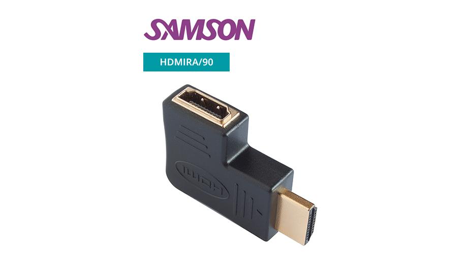 HDMI plug / socket adaptor (gold) - 90 Degrees