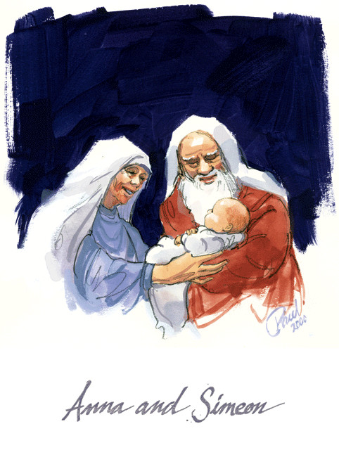 Anna and Simeon with the baby Jesus