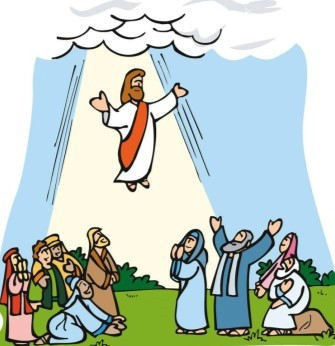 Scene of the Ascension - cartoon style