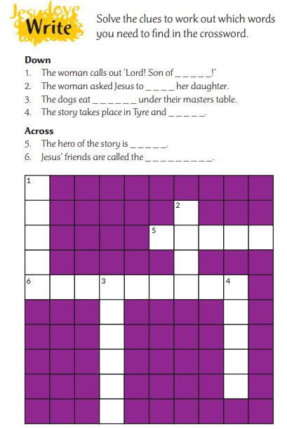 Crossword about Jesus and the Canaanite woman