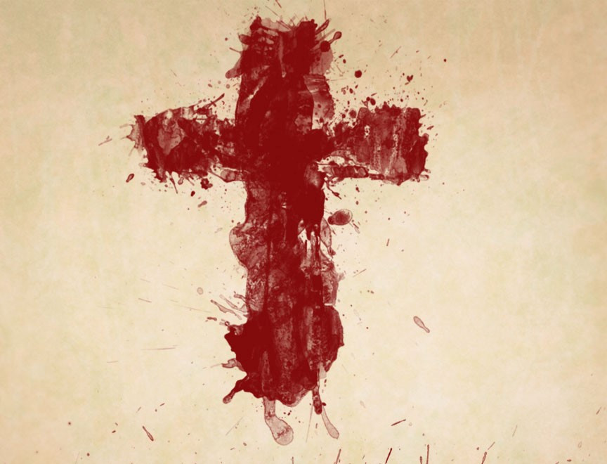 Cross made of blood