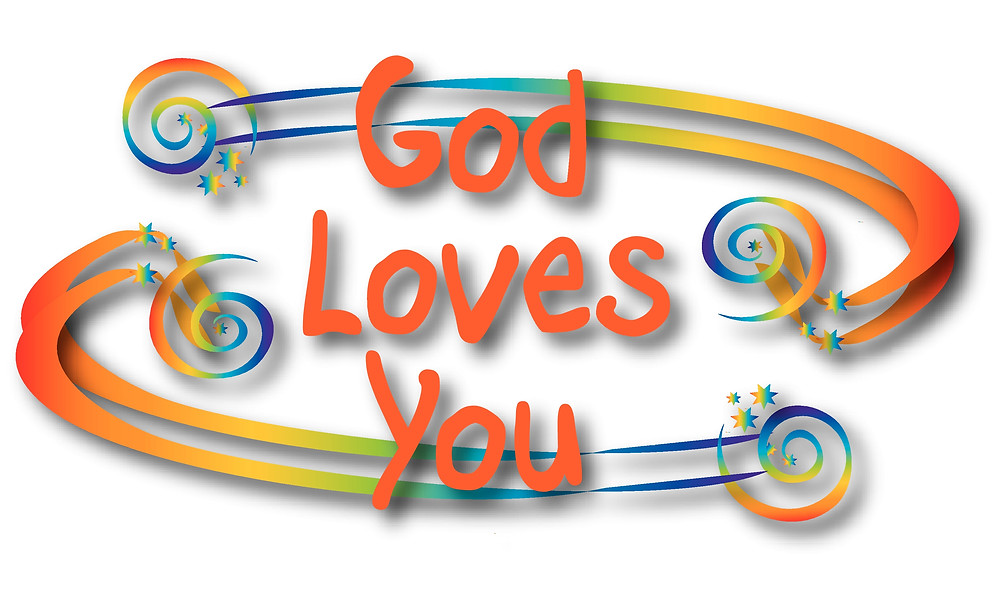 God Loves You message with rainbow coloured swirls. Image from Christian whole Listic