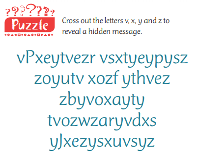 Cross out the letters x,x,y and z to reveal a hidden message