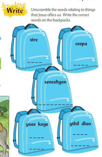 Backpacks with word puzzles