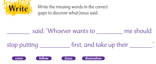 Jesus said ... choose the correct word to fill in the gaps to discover what he said