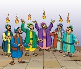 Holy Spirit as tongues of fire - cartoon style
