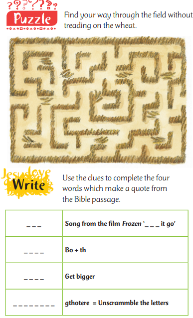 Maze puzzle and clues about the Bible passage from Matthew 13