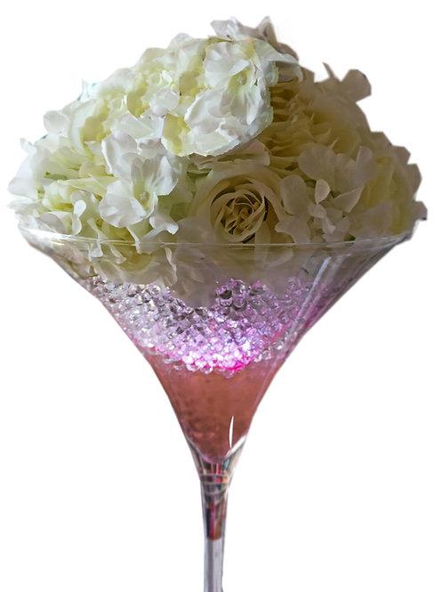 Location demi boule de roses blanche