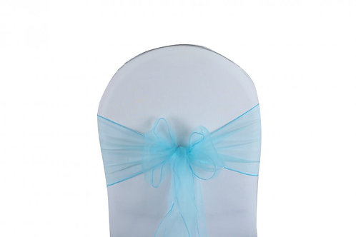 Location Noeud de chaise en organza bleu aqua
