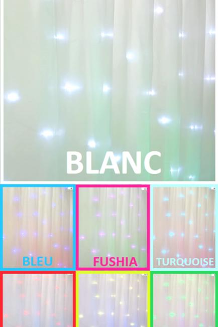 Location rideau lumineux 4m Multicolore