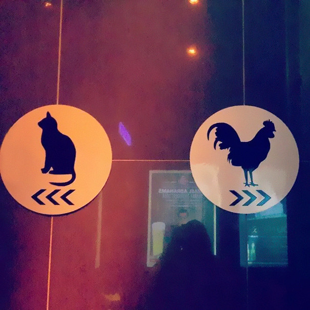 Pussy Cat and Cock Rooster Bathroom Signs
