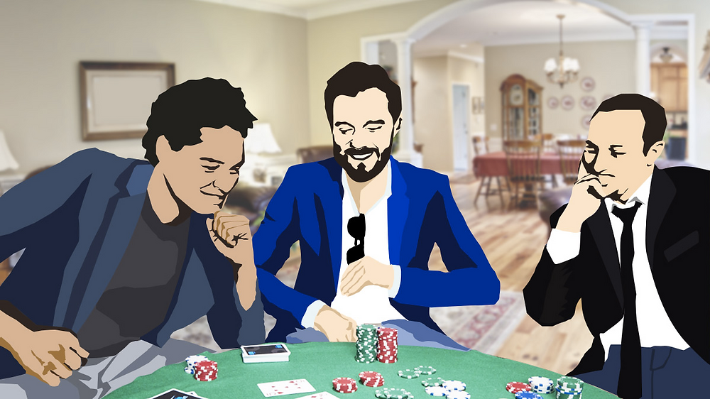 Playing poker with friends at home