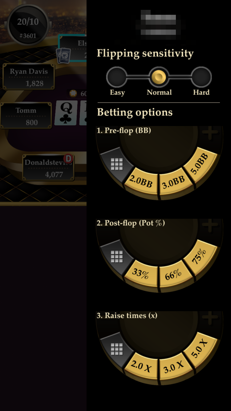 "Betting Settings in Pokerrrr featuring ""Flipping sensitivity"""
