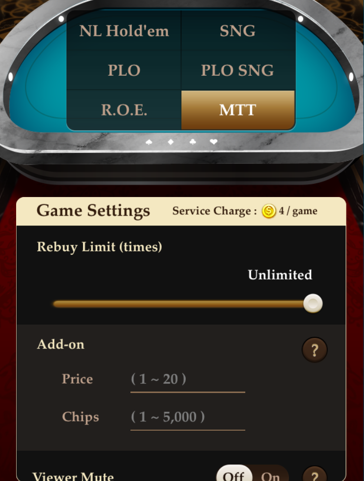Showing the Add-on function in Pokerrrr 2