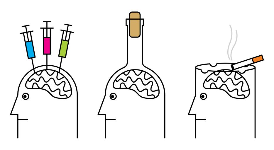 Picture displaying drug's and alcohol's effect on the brain