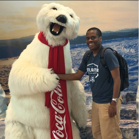 Stanford with the Coca-Cola bear