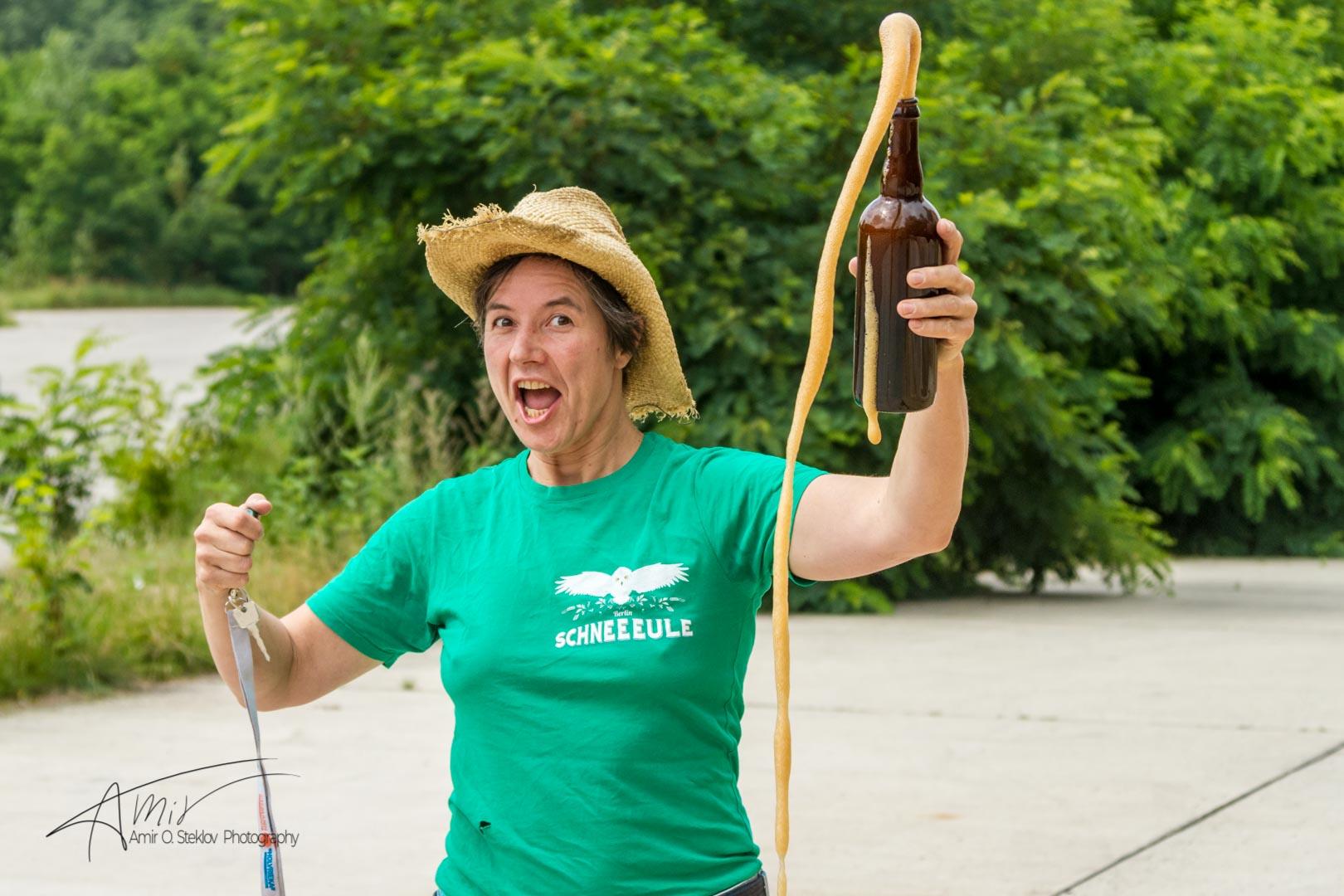Ulrike Genz happy with her amazing beer.