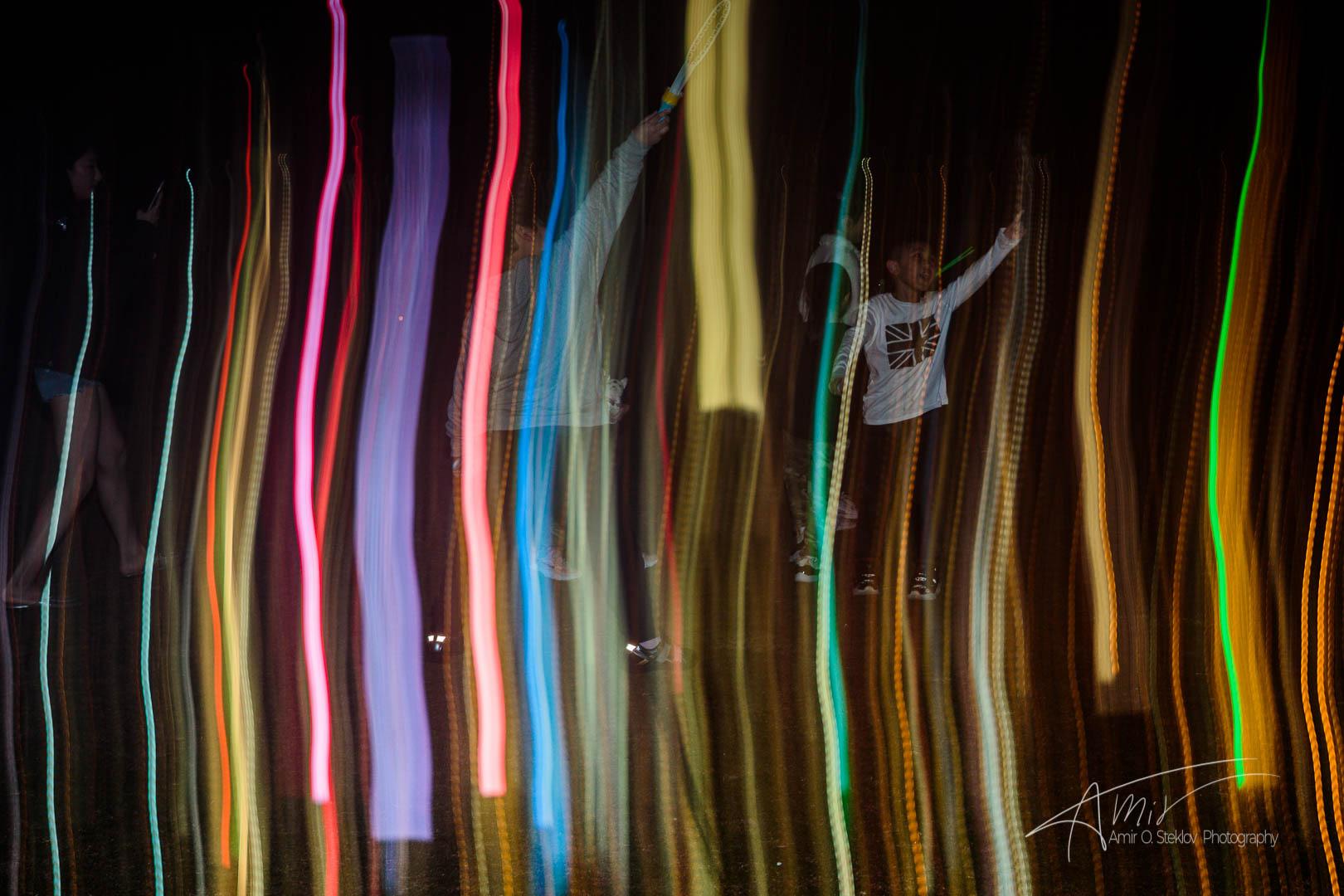 children touching the lights